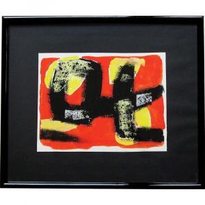 JUN DOBASHI, Abstraction orange noire et jaune, Gouache aquarellée et encre sur papier, signée