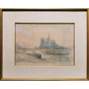 Albert LEBOURG, Notre Dame de Paris vue du Quai de La Tournelle, dessin impressionniste, signé