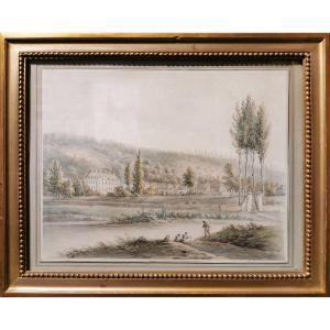 Louis Philippe CRÉPIN (1772-1851) Paysage animé au manoir, Dessin aquarellé signé, daté 1793