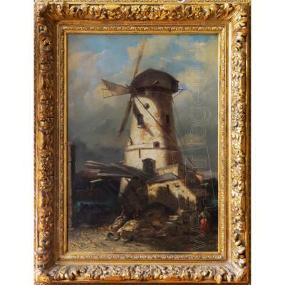 Paysage au moulin, HST, Ecole hollandaise XIXe