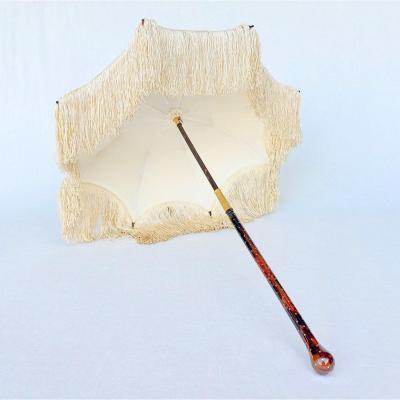 Ombrelle ancienne, XIXe, manche en écaille jaspé à décor d'étoiles