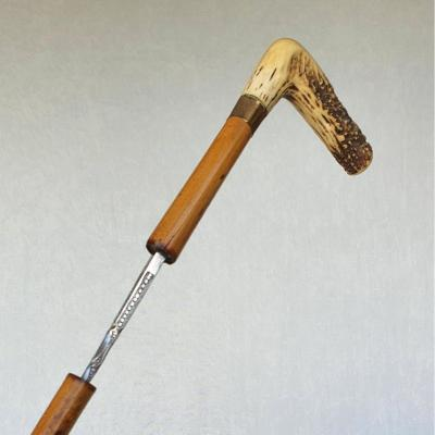 Canne-épée, poignée en andouiller, lame gravée