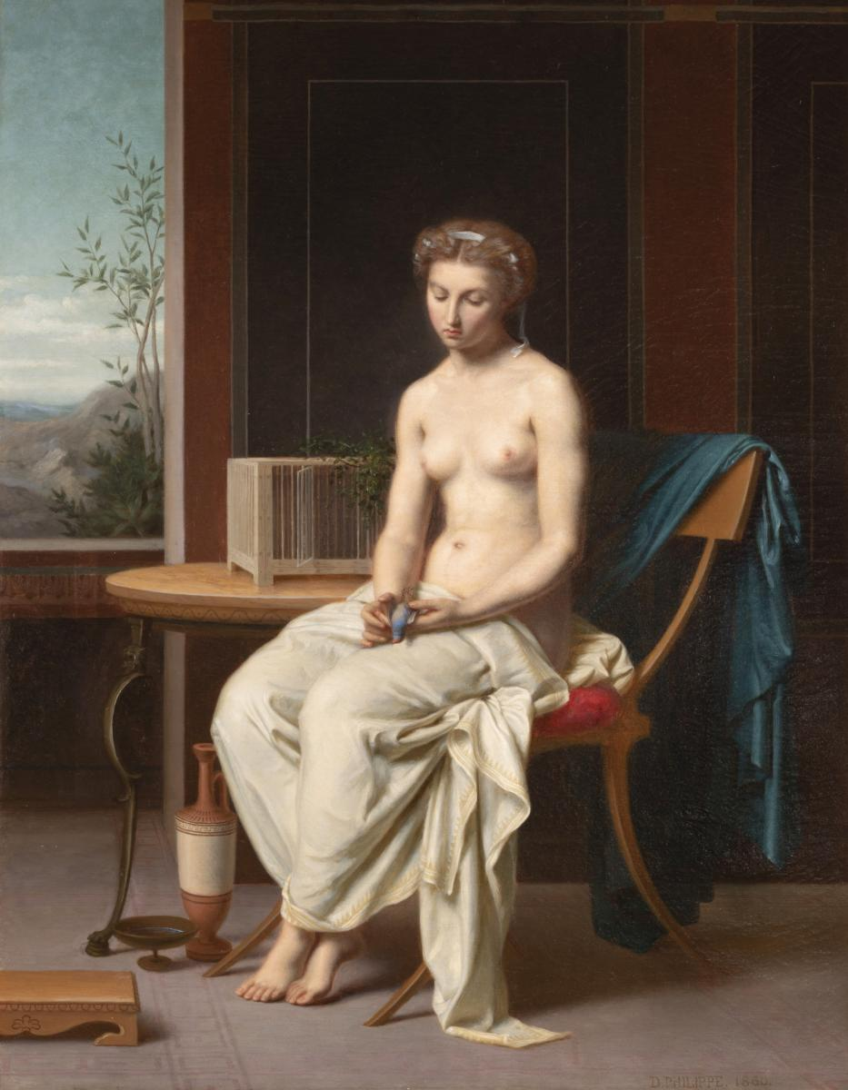 Portrait La Femme à l'Oiseau Bleu - Désiré Philippe 1860