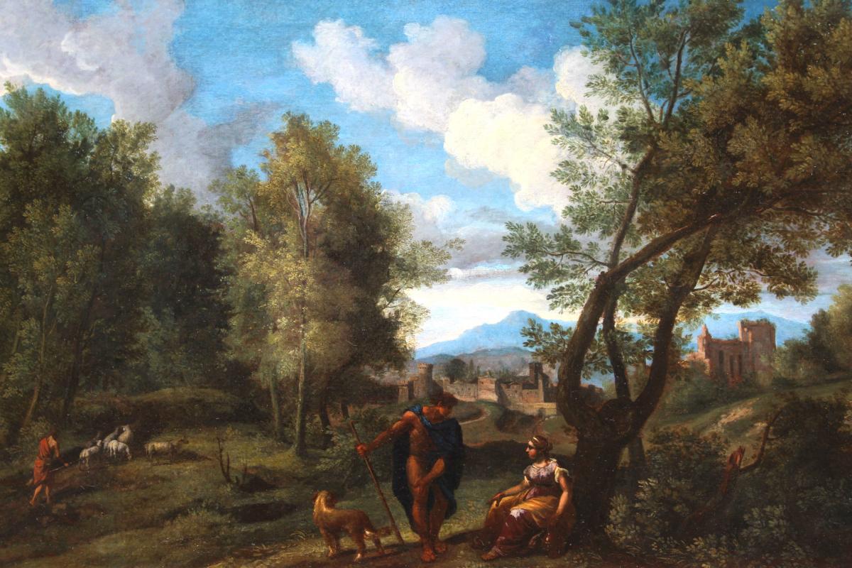 Paysage à l'Antique - Fin Du XVIIe Début XVIIIe Attribué à J.f Van Bloemen