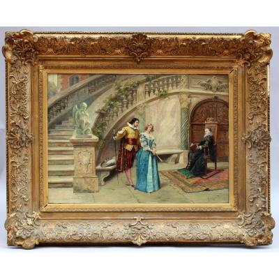 Oil On Canvas Scene Courtesy Signed Georges Cain