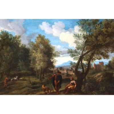 Landscape In The Antique - Late 17th Early Eighteenth Attributed To Jf Van Bloemen