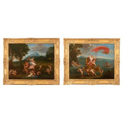 Pair Of 18th Century Mythological Scene - Follower Of Filippo Lauri