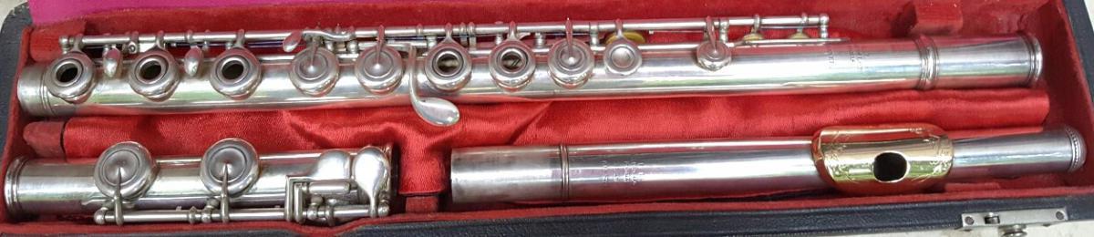Flûte Louis Lot #3458 Argent Massif ,bouche En Or