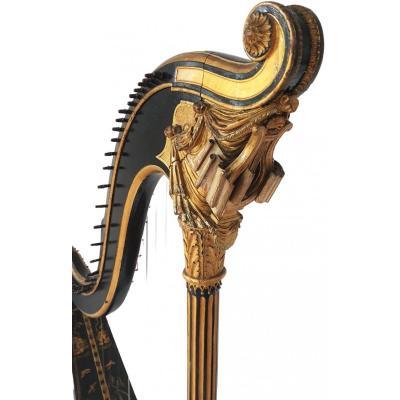 Harpe En Bois Sculpté Doré Signé Lepine à Paris