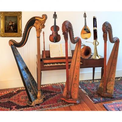 Un Salon De Musique Harpe Piano  Erard Cor Halari Mandoline Embergher  18eme, 19eme
