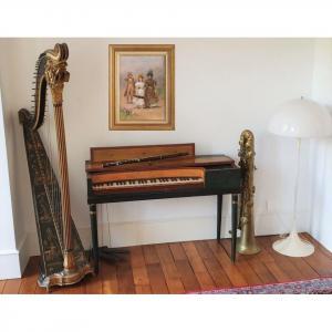 Un Salon De Musique Piano Erard Flute Ophicleide Harp Ancient Musical Instruments