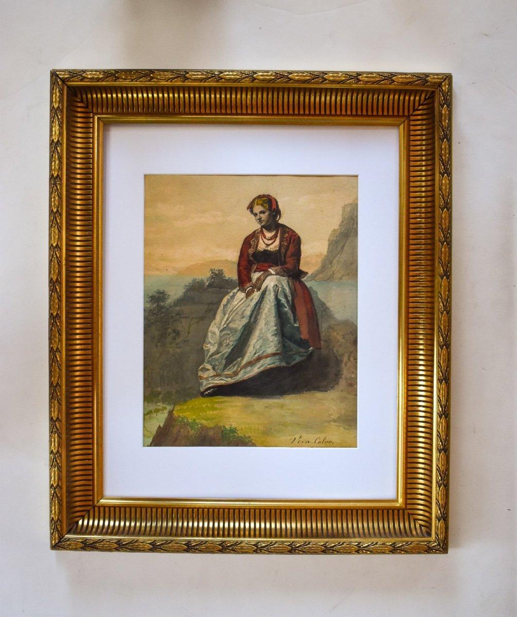 Juan A. Vera Calvo – Portrait Of A Young Italian Woman – Circa 1870-photo-3