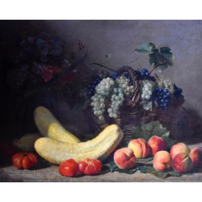 Jacques Delanoy – Nature morte aux fruits et légumes – 1885