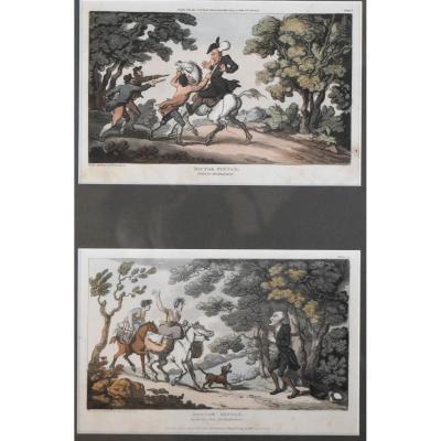 Thomas Rowlandson – Série Dr. Syntax, Incidents avec des bandits, Deux gravures – 1813