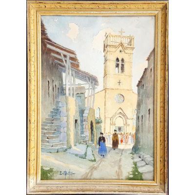 Ernest Berthier  La sortie de la messe  École de Lyon  Circa 1920