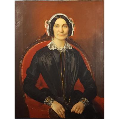 Friedrich Hohbach  Portrait de dame 1867
