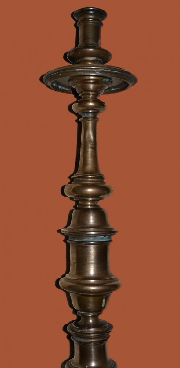 Bougeoir un Feu en Bronze, 57 cm de haut sur Pied Tripode du XVIIème-photo-4