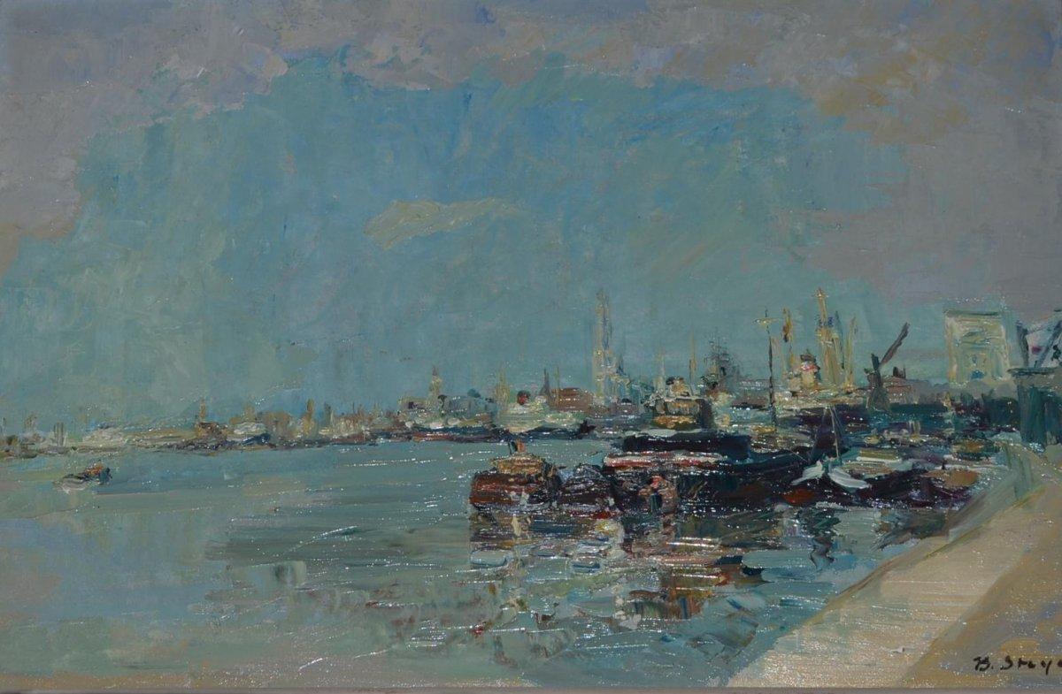 """Bernard STEYAERT (1909 - 1993) """" La Rade """" 1950"""