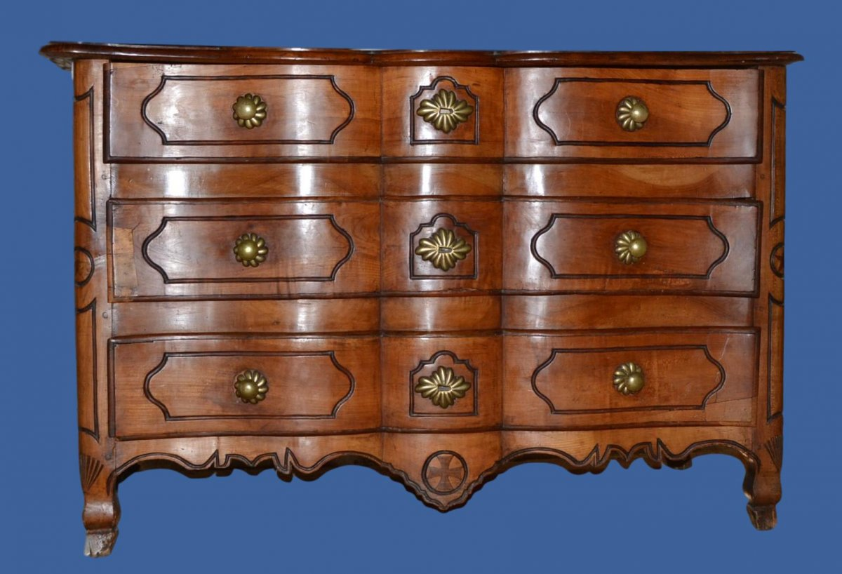 Curved Chest In Wildcherry Wood , Early XVIIIth Century, French