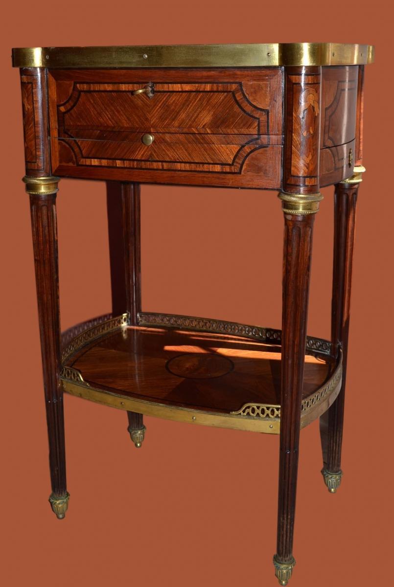 """Table En Chiffonnière (ou à Ouvrage) Estampillée """"VEAUX"""" - XVIII ème Siècle"""