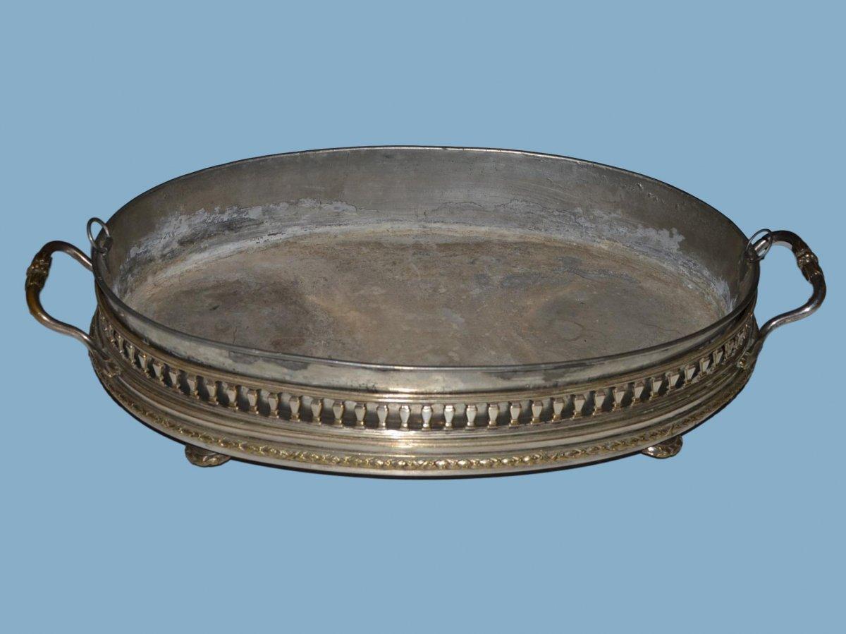 Grande Jardinière de Table de Style Louis XVI en métal argenté et Zinc, 1860/1880