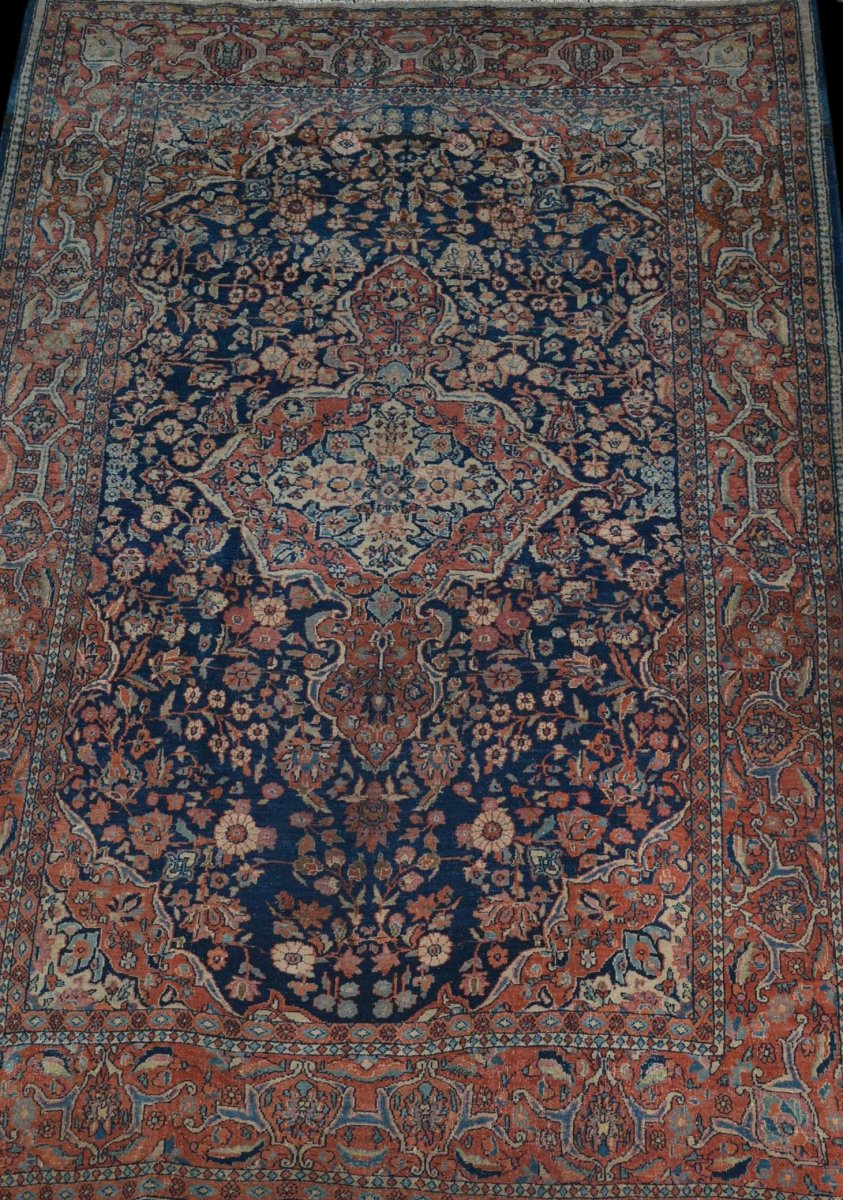 Paire de tapis Sarough, Iran, 135 x 197 cm, Laine Kork Nouée Main, Début Du XXème Siècle-photo-1