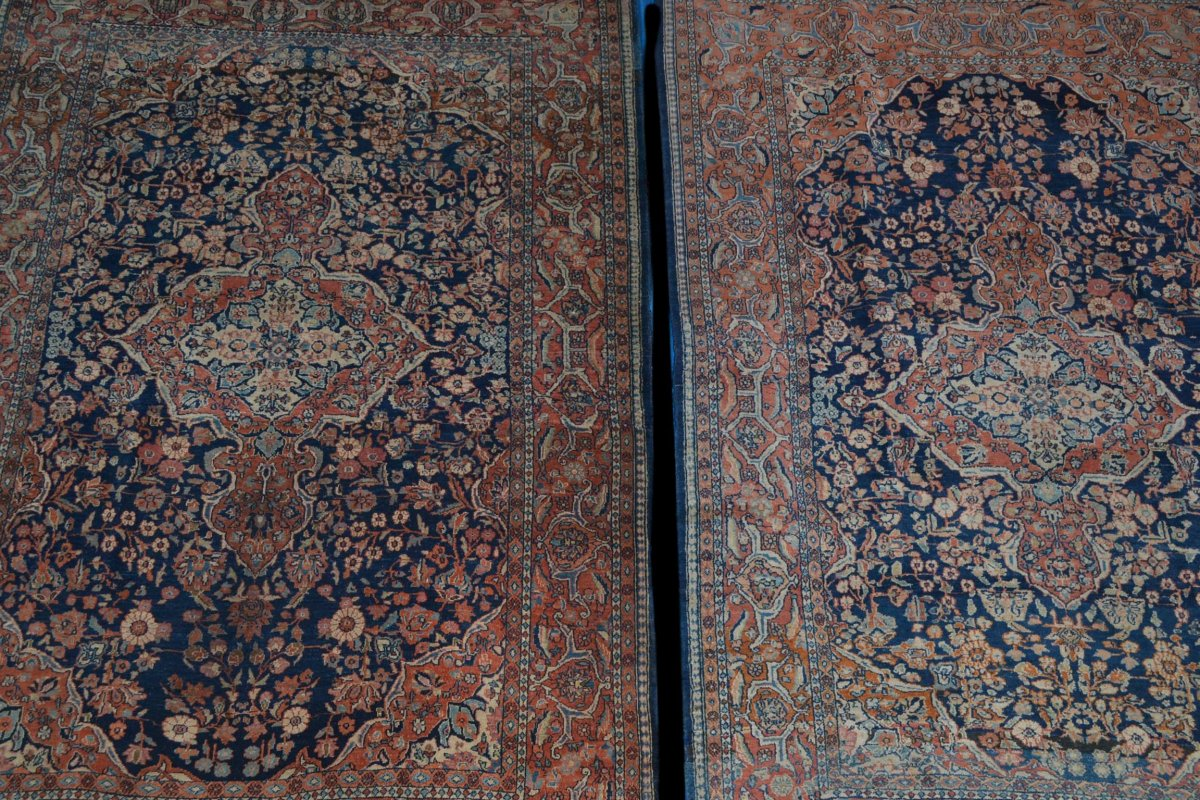 Paire de tapis Sarough, Iran, 135 x 197 cm, Laine Kork Nouée Main, Début Du XXème Siècle-photo-3