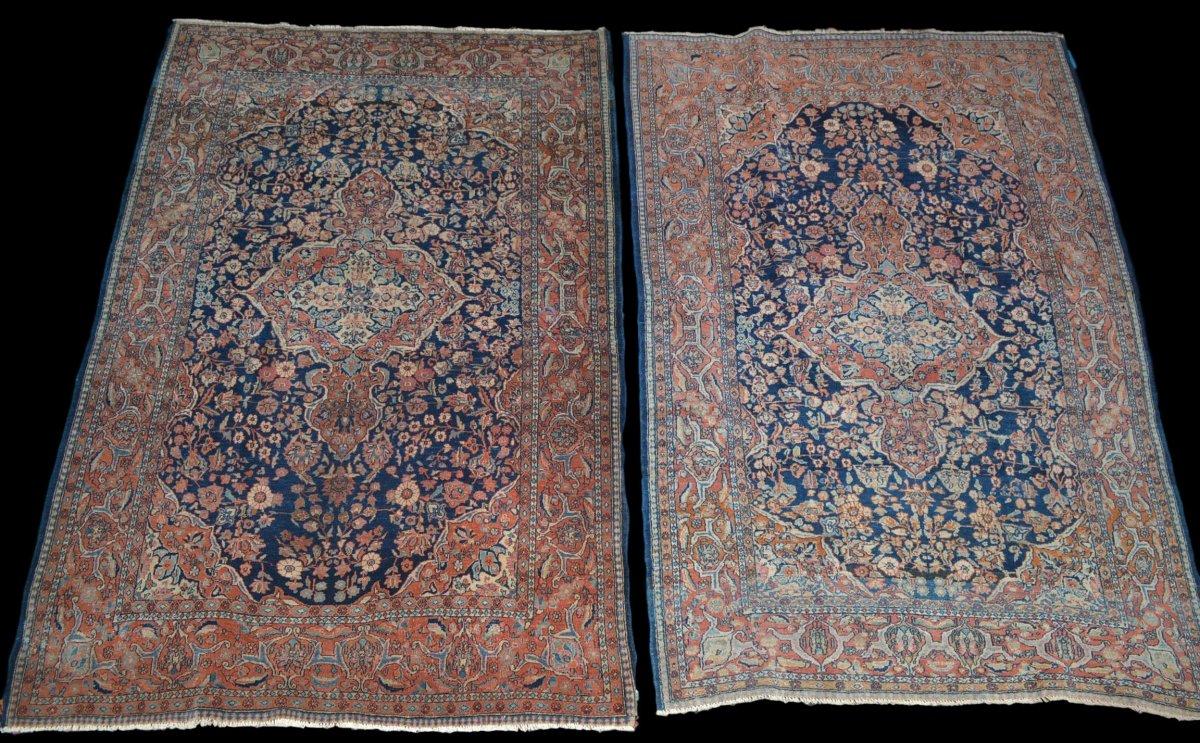 Paire de tapis Sarough, Iran, 135 x 197 cm, Laine Kork Nouée Main, Début Du XXème Siècle