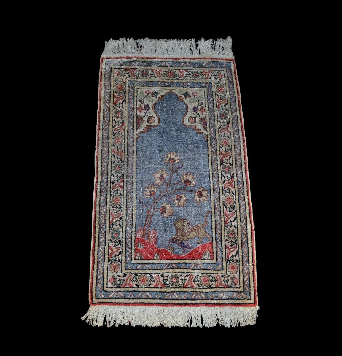 Carpet Bursa, Turkey, 63 Cm X 123 Cm, Silk And Wool, Early Twentieth In Very Good Condition