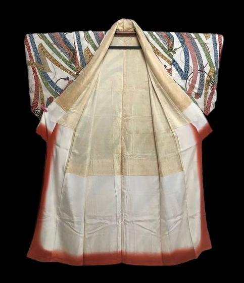 Kimono Tsumugi En Soie, Peint main, Doublé Soie, Japon, 1960, Très Bon état-photo-2
