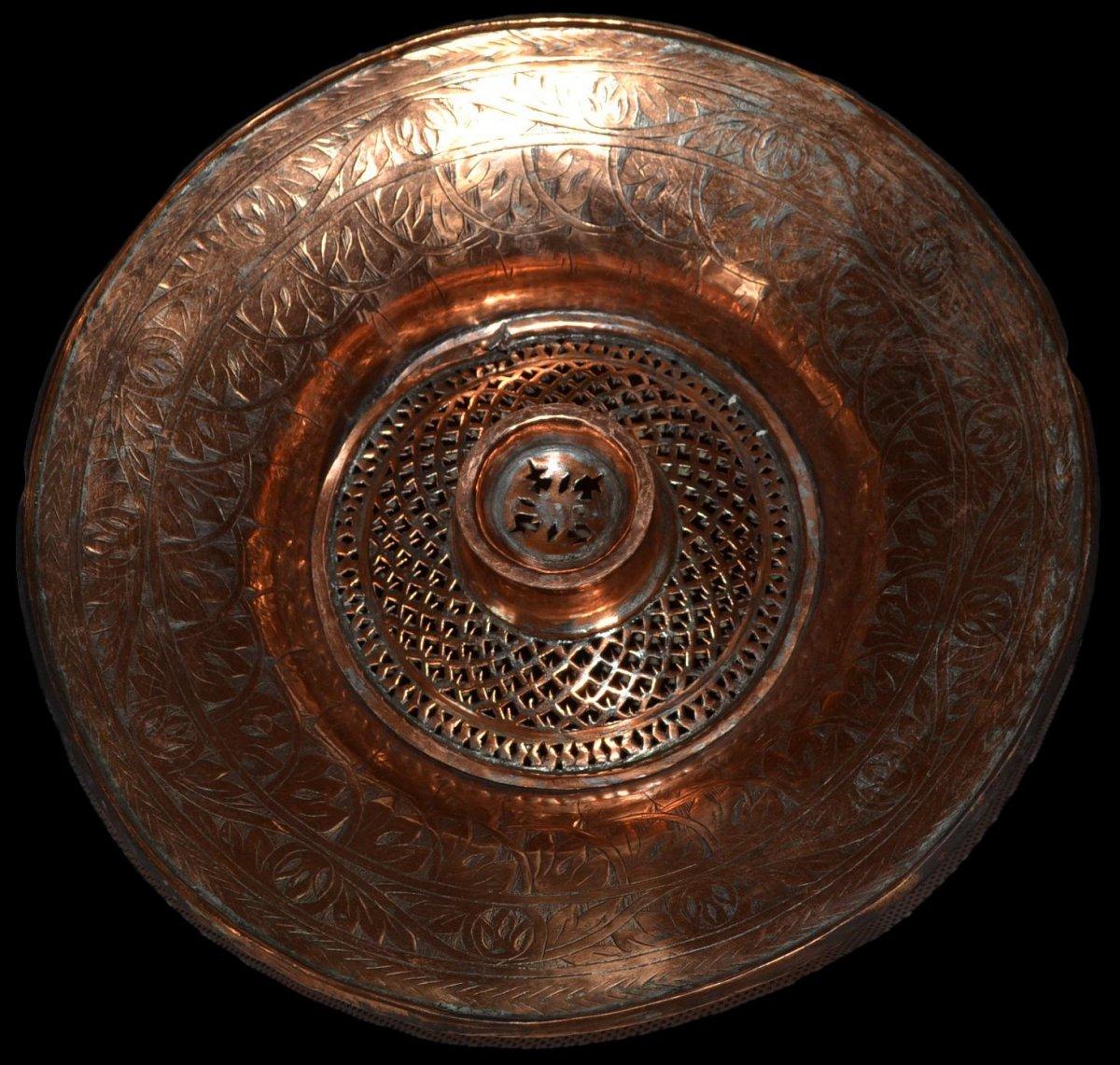 Aiguière et son bassin, cuivre rouge ciselé, Empire Ottoman, fin du XIXème Siècle, -photo-4