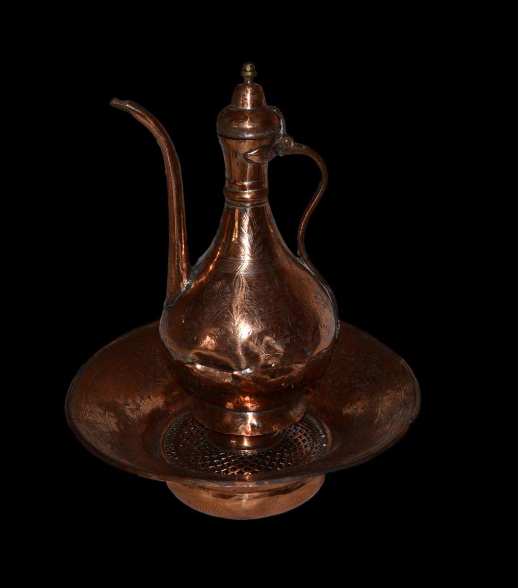 Aiguière et son bassin, cuivre rouge ciselé, Empire Ottoman, fin du XIXème Siècle, -photo-5