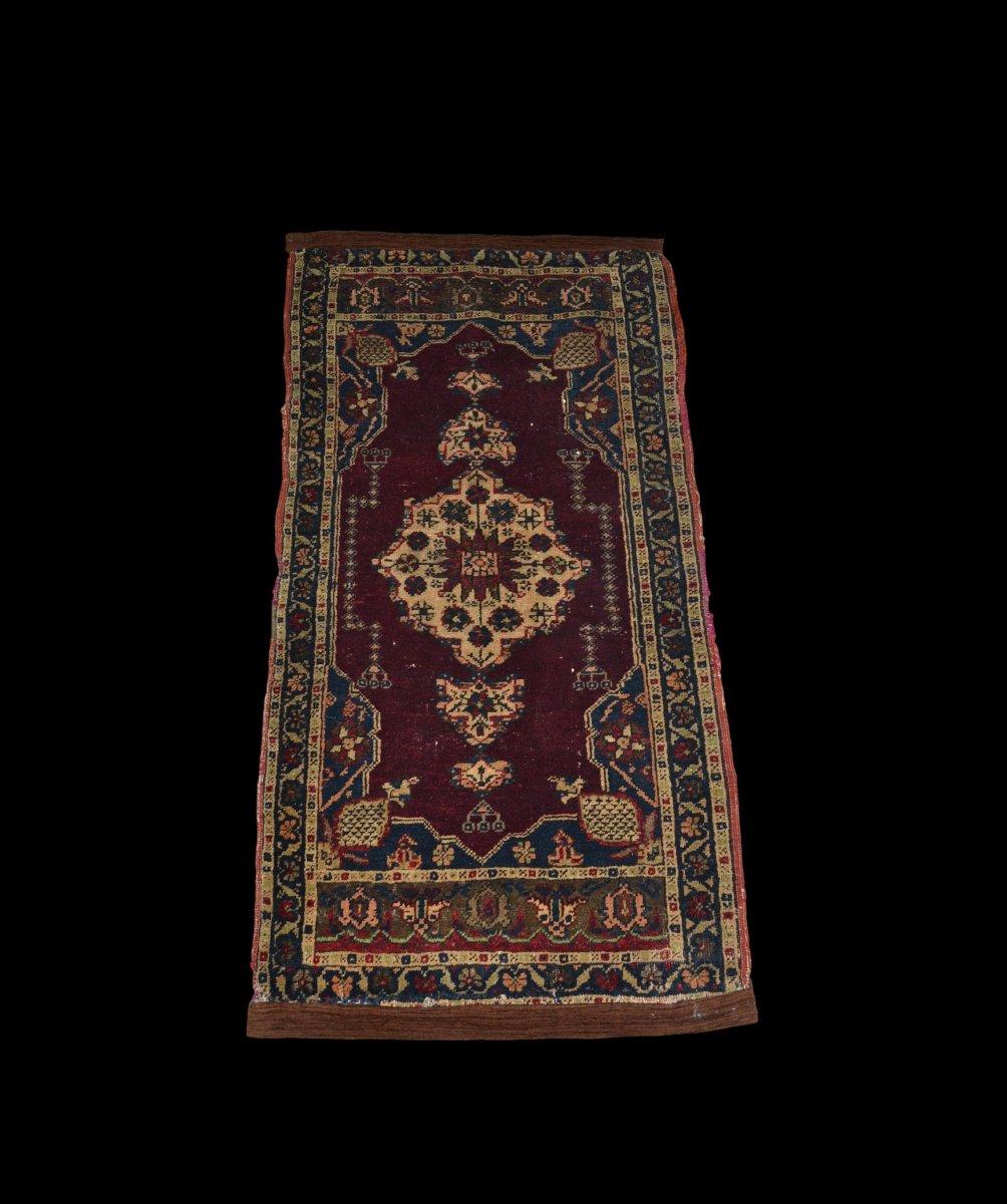 Antique Hereké Carpet, Turkey, 55 Cm X 102 Cm, Hand Knotted Wool, Mid XIXth Century