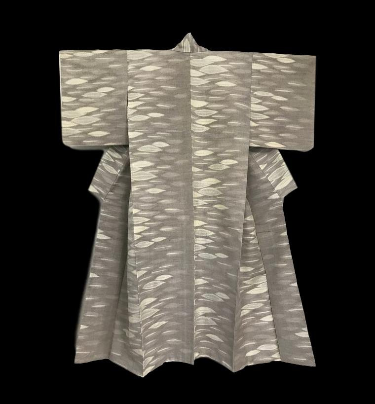 Kimono Komon en Soie, Japon, décor de feuilles, 1950/ 1960, Très bon état