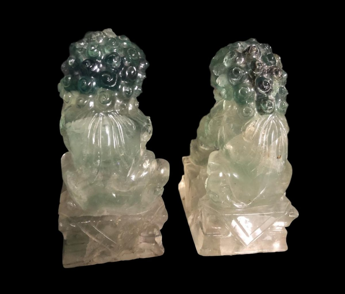 Pair Of Dogs Of Fô Or Shi In Rock Crystal, China, Late XIX, Very Early XX-photo-2