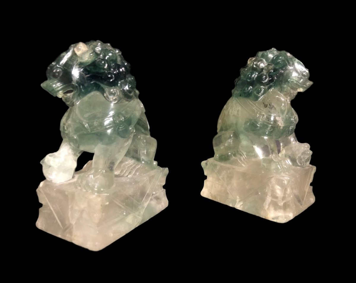 Pair Of Dogs Of Fô Or Shi In Rock Crystal, China, Late XIX, Very Early XX