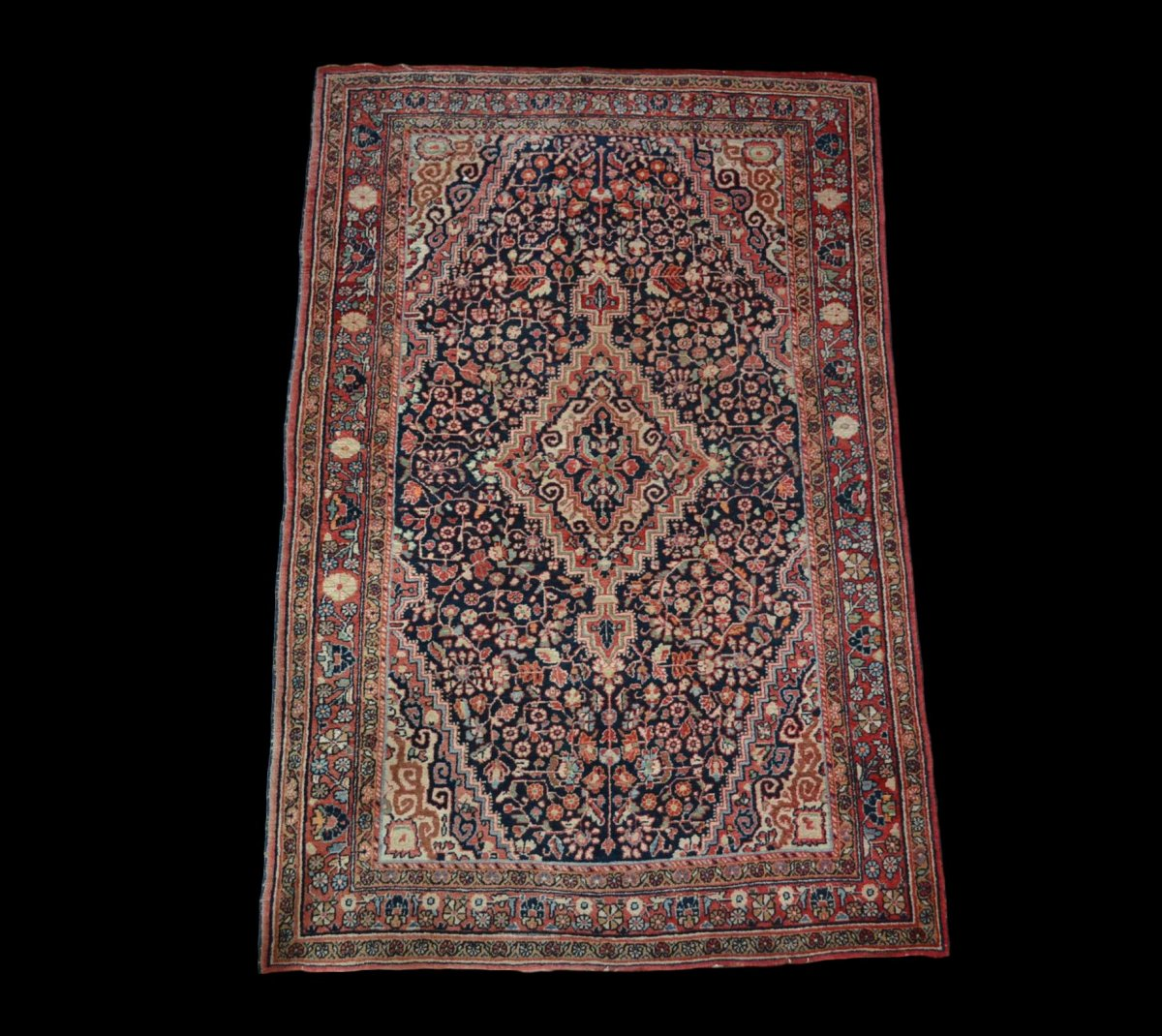 Tapis Persan Mahal ancien, Iran, 135 cm x 212 cm, Laine nouée main, Milieu du XXème, vers 1950