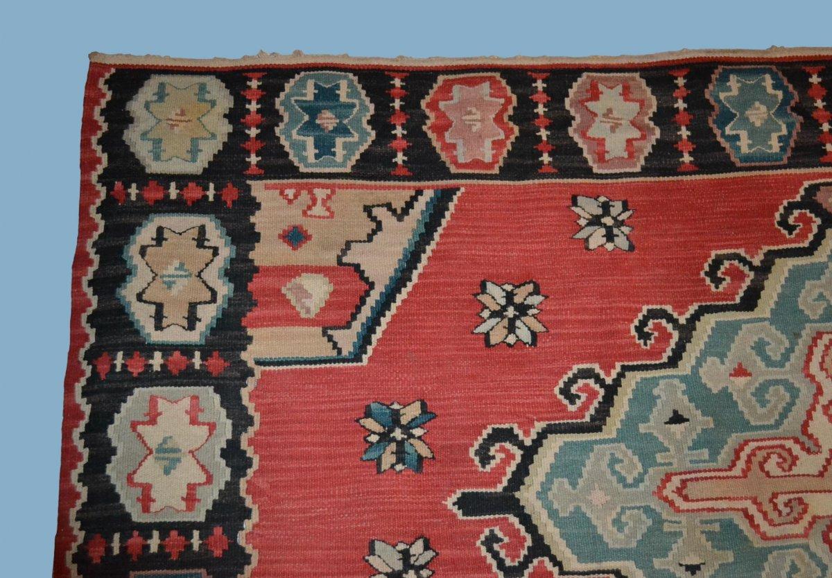 Important Kilim ancien, 178 cm x 258 cm, laine, première partie du XXème Siècle, Très bel état-photo-3