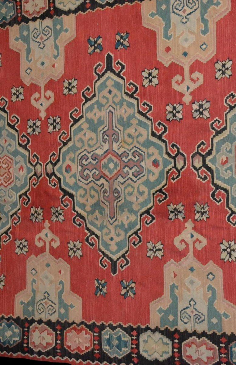 Important Kilim ancien, 178 cm x 258 cm, laine, première partie du XXème Siècle, Très bel état-photo-4