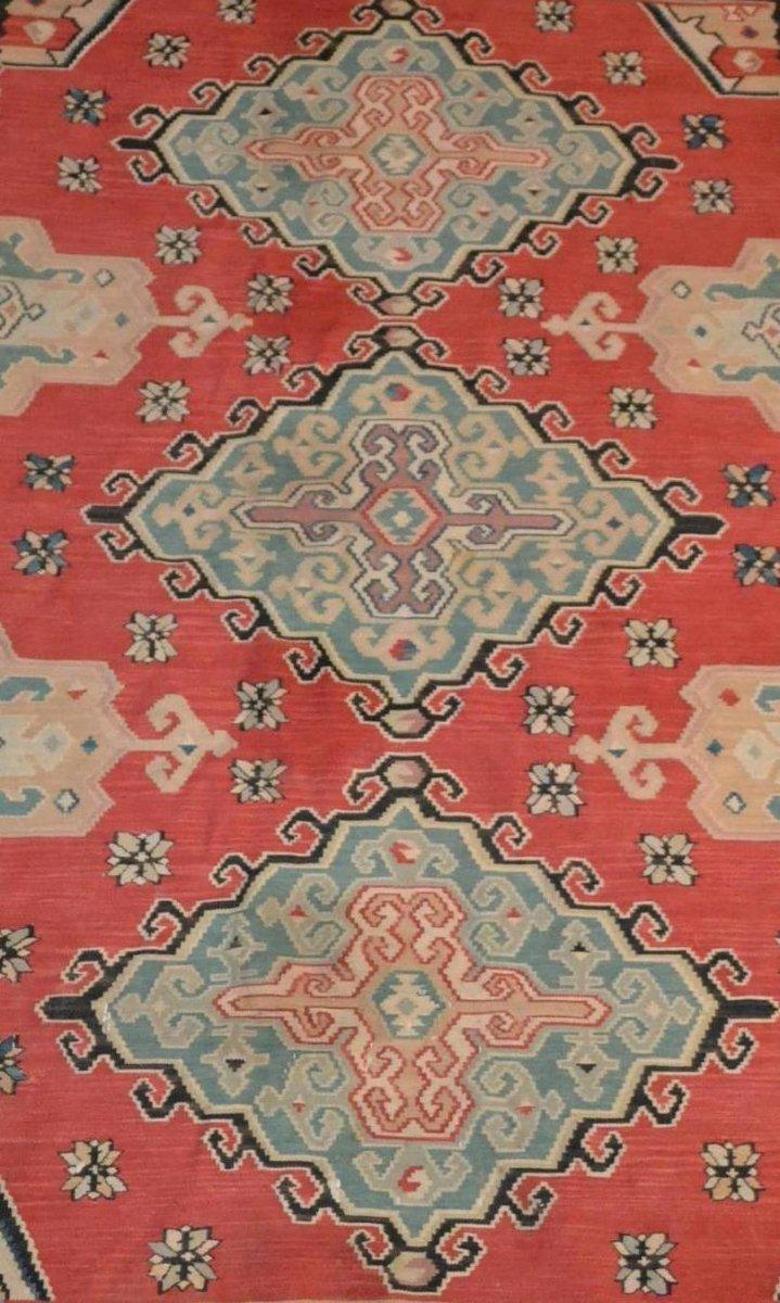 Important Kilim ancien, 178 cm x 258 cm, laine, première partie du XXème Siècle, Très bel état-photo-6
