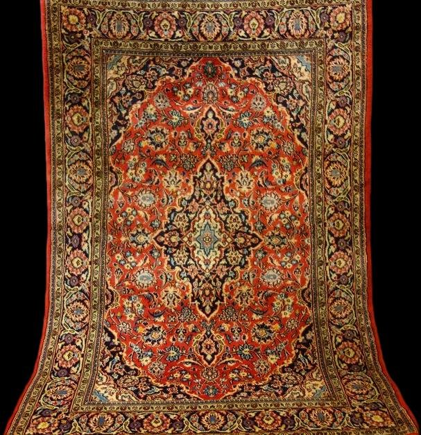 Persian Kashan Rug, 105 Cm X 155 Cm, Iran, Hand-knotted Wool Circa 1980, In Perfect Condition