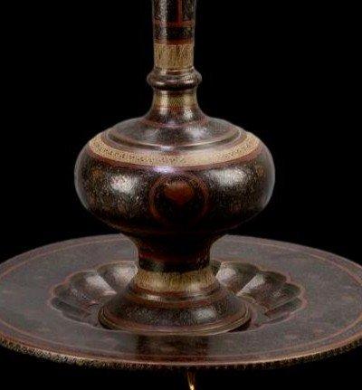 Important vase et plateau orientaux en cuivre émaillé, Indo-persan, 1900/1920, très bel état-photo-5