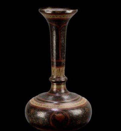 Important vase et plateau orientaux en cuivre émaillé, Indo-persan, 1900/1920, très bel état-photo-6