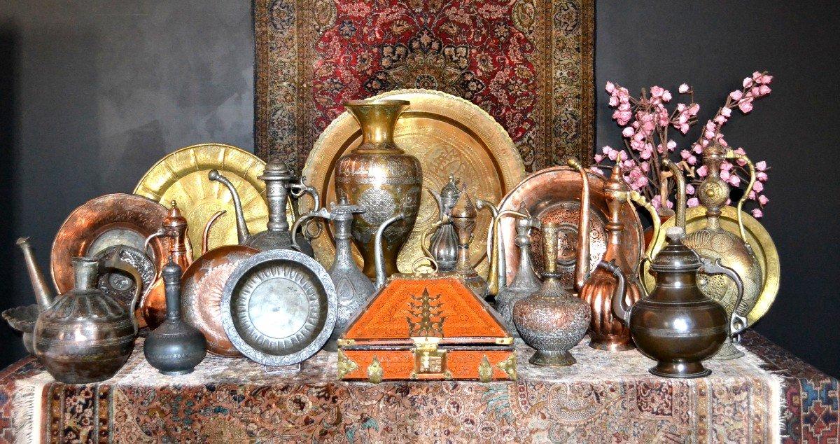 Important vase et plateau orientaux en cuivre émaillé, Indo-persan, 1900/1920, très bel état-photo-7