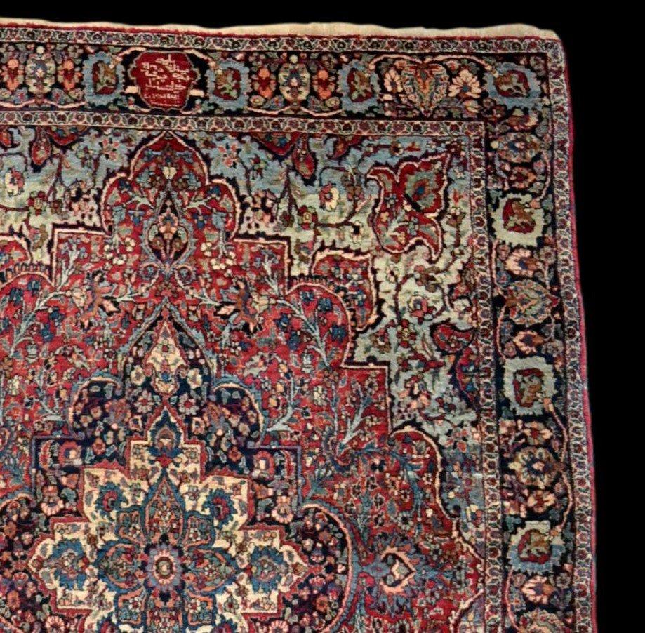 Tapis Persan Ghom ancien, signé, daté, laine et soie, 135 cm x 197 cm, Iran, très bon état-photo-1