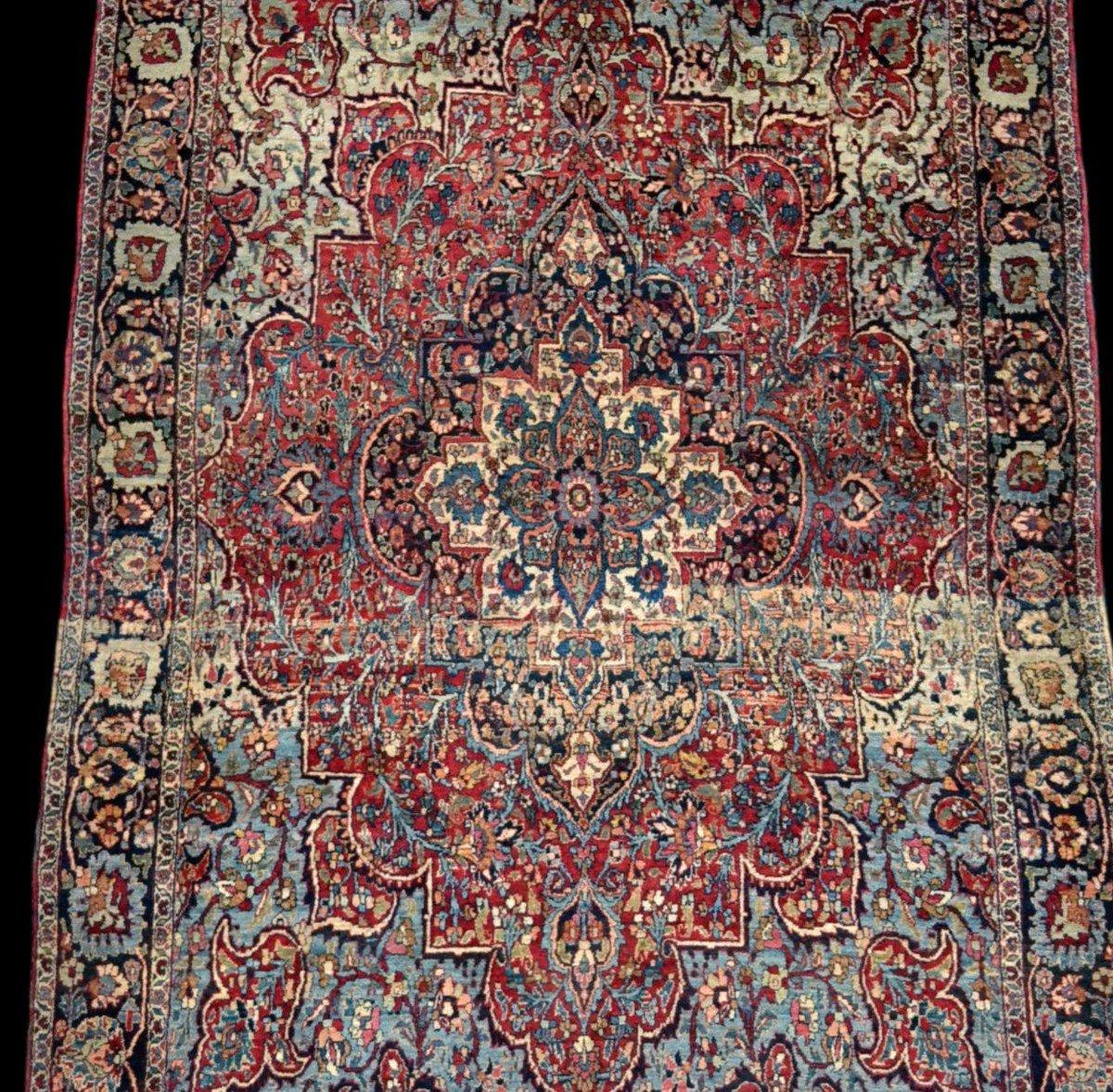 Tapis Persan Ghom ancien, signé, daté, laine et soie, 135 cm x 197 cm, Iran, très bon état-photo-5