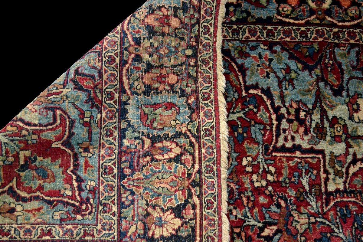 Tapis Persan Ghom ancien, signé, daté, laine et soie, 135 cm x 197 cm, Iran, très bon état-photo-7