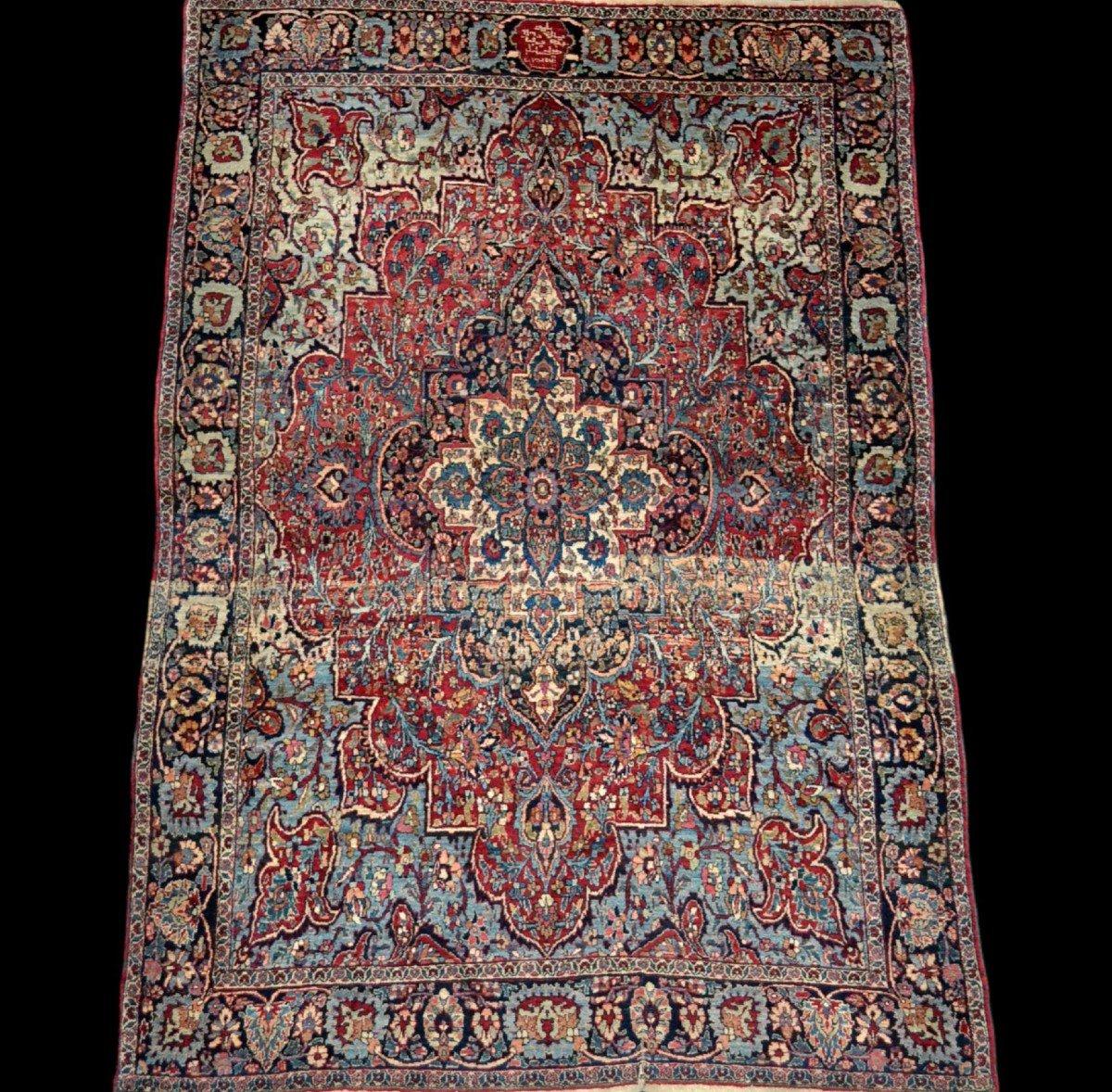 Tapis Persan Ghom ancien, signé, daté, laine et soie, 135 cm x 197 cm, Iran, très bon état