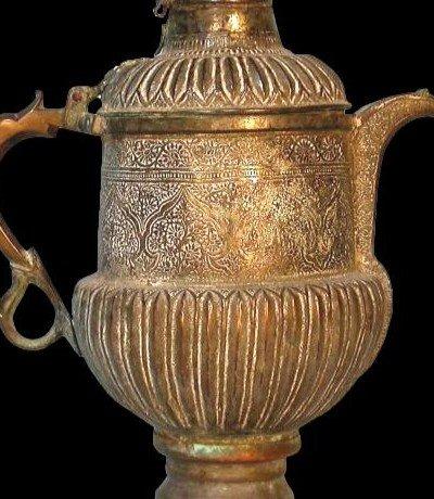 Théière-bouilloire, Perse, Asie centrale, cuivre au repoussé, XIXème siècle-photo-6