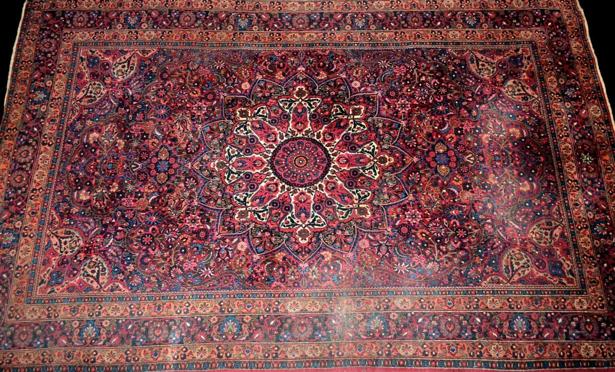 Old Persian Macchad Rug, Signed, 204 Cm X 320 Cm, Iran, Hand-knotted Wool, Good Condition-photo-2
